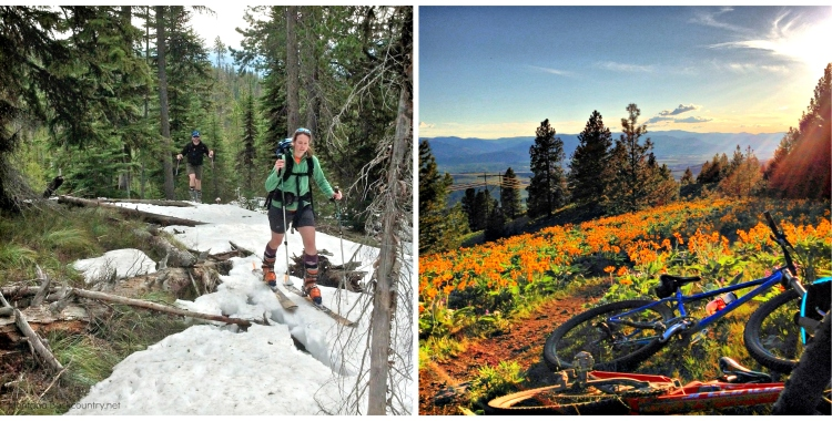 photo of spring skiing and mountain biking in Montana